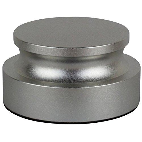 Schallplattengewicht-Stabilisator – Aluminium-Plattenspieler-Klemme (schwarz) von DJGEARIX – Premium Audiophile Grade Vinyl Vibrationsreduzierung für Audio-Leistung mit weichem Basis-Pad (Silber)
