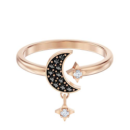 Swarovski Symbolic Collection Women's Moon Open Ring, with Swarovski Crystals and black pavé and a Rose-Gold Tone Plated Band, Size 6