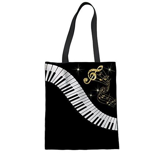 Nopersonality Fashion Black Piano Keys Music Handbag Tote Bag Shopping Bag Handbag