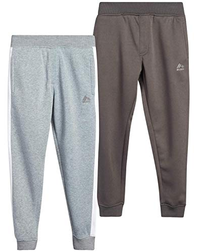 RBX Boys' Active Sweatpants – Basic Warm-Up Fleece Jogger Track Pants (2 Pack), Size 10/12, Grey Heather