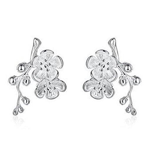 boowhol orecchini fiore di prugno Orecchini in argento 925goccia ipoallergenico per le donne