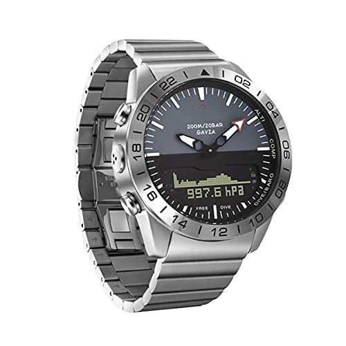 QNMM Reloj Digital Deportivo de Buceo para Hombres, Acero Completo de Lujo Impermeable 200m Natación Pantalla Dual Podómetro Deportivo Altitud Presión Profundidad Buceo Reloj