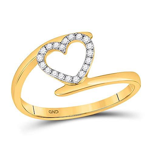Diamond2Deal Mujer Hombre Unisex 417 Gold Oro amarillo de 10 quilates round-shape G-H Diamante blanco