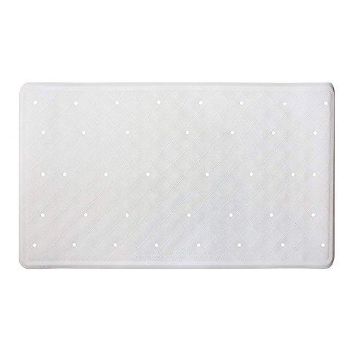ANSIO Alfombrilla de baño Bañera Antideslizante Antimoho Alfombrilla de Ducha de Goma con Orificios de Drenaje y ventosas Lavable a máquina 40 x 70 cm / 15,8 x 27,7 Pulgadas - Blanco