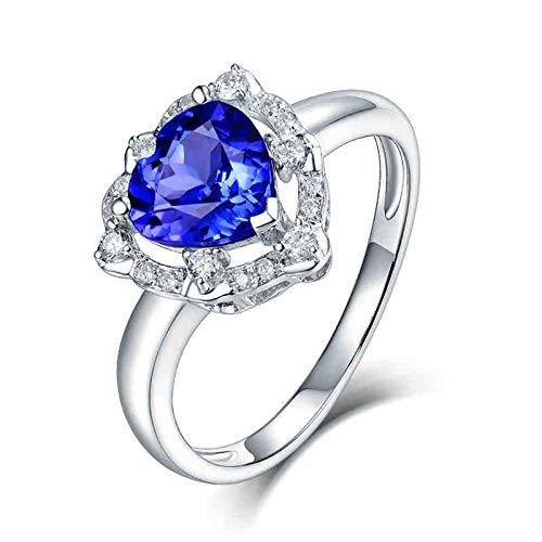 AnazoZ Anillo Mujer Plata Tanzanita,Anillos Oro Blanco 18 Kilates Mujer Plata Azul Corazón con Hueco Tanzanita Azul 1.23ct Diamante 0.13ct Talla 8