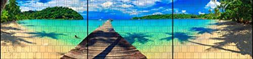 Riesen Panorama Zaun - bedruckte Sichtschutzstreifen für Doppelstabmattenzaun mit großen Panorama Motiv (XXL (3 Zaundfelder), Karibik)