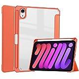 Tri-plier Supporter Coque pour iPad Mini 6 8,3'' 2021 avec Porte-Pencil, PU Acrylique Transparent...