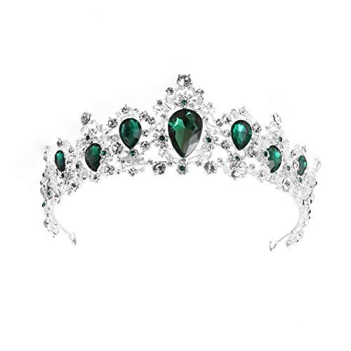 Lurrose de Cristal Barroco con Diamantes de Imitación para Boda Tiara Vintage para Fiesta de Graduación Diadema para Halloween Boda Navidad (Base de Plata Verde)