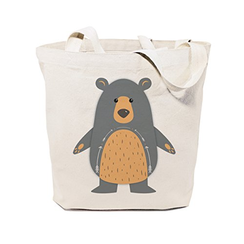 The Cotton Canvas Co Bear Beach Shopping and Travel Reusable Shoulder Tote and Handbag for Kids Teens Adults