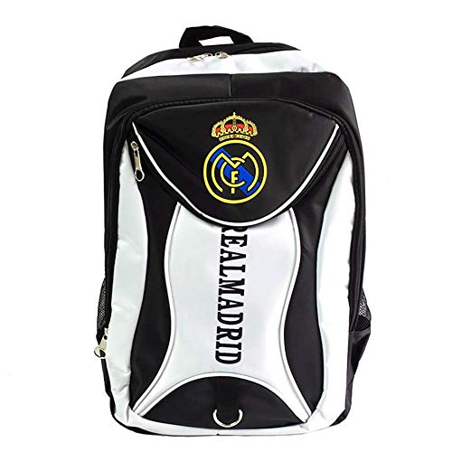 Football Club Unisex Water Resistant Backpack Multifunction Travel Backpack School Backpack for Students (Real Madrid, 16.9 x 11.8 x 7.9 inch)