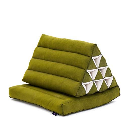 Leewadee colchón Plegable con un segmento – Futón con cojín Hecho a Mano de kapok ecológico, colchoneta tailandesa Ancha, 75 x 50 cm, Verde