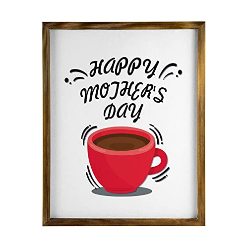 by Unbranded Señal de madera enmarcada con texto en inglés 'Happy Mothers' Day Kitchen Wall Decor,Garden Sign,Camping Decor,Pantry Sign Wood Wall Sign,Wall Hanging Wood Plate Sign
