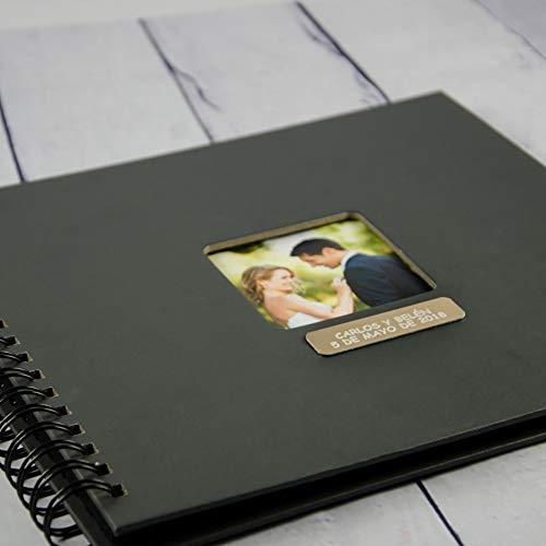 Regalo Personalizado para Bodas, comuniones, bautizos: Álbum de Fotos Negro Personalizado: Regalo Personalizable con el Texto Grabado Que Quieras