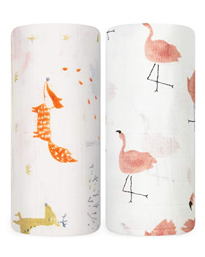 Babebay Baby Swaddle Blanket, Bamboo Muslin Swaddle Blankets for Newborn, Swaddle Wrap Soft Silky Neutral Receiving Blanket for Girls and Boys, 47 x 47 inches, Set of Fox & Flamingo