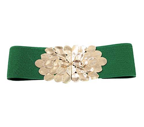 BRANDELIA Cinturones elásticos fiesta cierre dorado mujer para vestidos, pantalones y faldas, flor verde