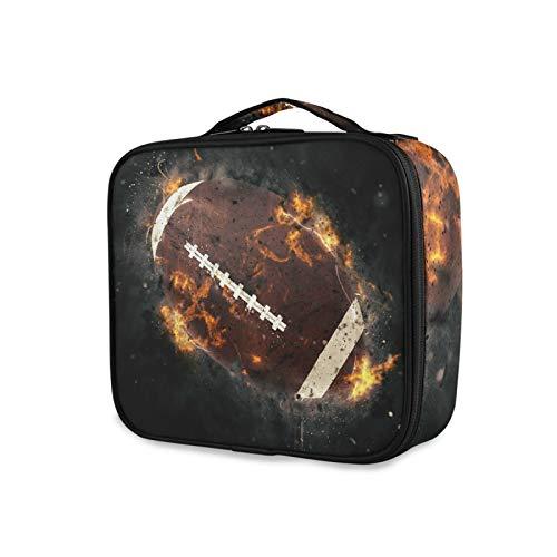 iRoad - Bolsa de maquillaje personalizable, diseño de pelota de rugby, pintura al fuego, bolsa de cosméticos con compartimento ajustable, bolsa de aseo grande para hombres y mujeres