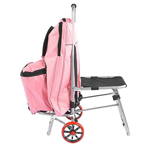 Multifunctionele schilderij auto, multifunctionele draagbare tekentafel klapstoel schets tas schilderij trolley art supplies, spons handvat, duurzaam (roze)