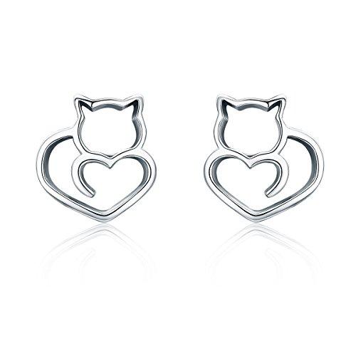 BAMOER - Anello a forma di gatto, in argento Sterling 925, regolabile, da donna e Argento, colore: Orecchini a forma di gatto., cod. GXE271+GW0024