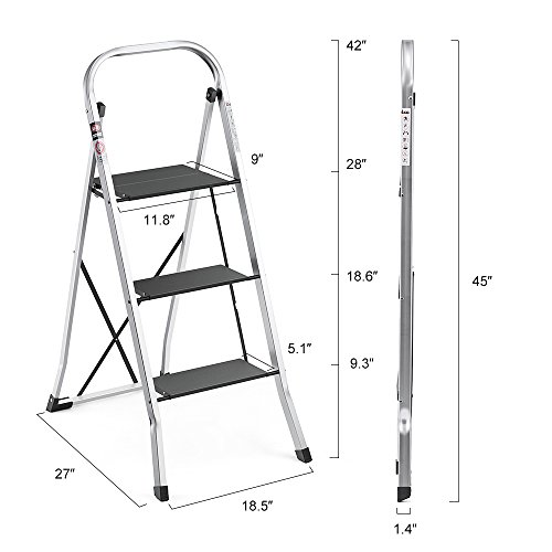 Delxo Lightweight Aluminum 3 Step Ladder Step Stool Single-Hand Carry Ladder with Handgrip Anti-Slip Sturdy and Wide Pedal Multi-Use for Household and Office Portable Step Stool 300lbs
