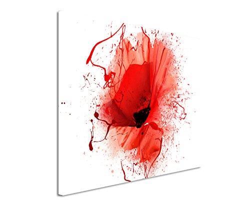 Kunstfoto auf Leinwand 60x40cm Mohnblumen im Splash Art Stil auf Leinwand Exklusives Wandbild Moderne Fotografie für ihre Wand in vielen Größen