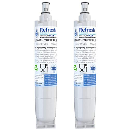 Refresh NSF-53 Replacement Refrigerator Water Filter Compatible With Whirlpool 4396508, 4396510, EDR5RXD1, NLC240V, Kenmore 9085, Kitchenaid, Maytag, and Whirlpool Side By Side (2 Pack)