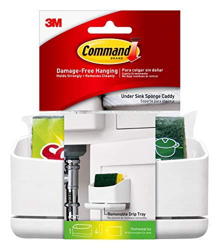 Command Under Sink Sponge Caddy, White, 1-Caddy, 4-Strips, Organize Damage-Free
