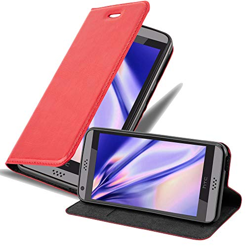 Cadorabo Hülle für HTC Desire 530/630 in Apfel ROT - Handyhülle mit Magnetverschluss, Standfunktion & Kartenfach - Hülle Cover Schutzhülle Etui Tasche Book Klapp Style