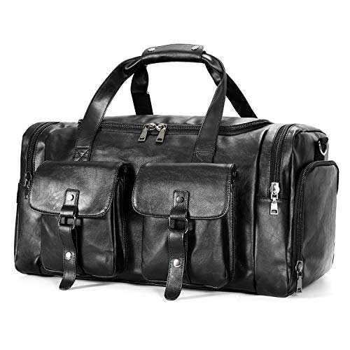 Zeroway PU Leather Travel Duffel Bag with Shoe Pouch, Carry on Bag Weekender Bag for Men Women