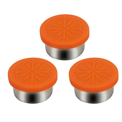 TOPBATHY 3 Stück Dressingbehälter Gewürzdosen aus Edelstahl mit Gewürzdipbehältern in Lebensmittelqualität mit Gewürzbehältern für Silikondeckel