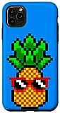 iPhone 11 Pro Max Gamer Girl Pineapple Sunglasses Retro 8-Bit Video Game Blue Case
