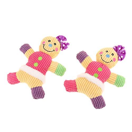 joyMerit 2 Stück Hundespielzeug Plüsch Lebkuchenmann Kauspielzeug Quietschspielzeug - Rosa