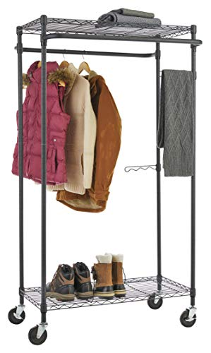 Type A Heavy-Duty Garment Rack   Portable Clothes Rack on Wheels and Shelves   Adjustable Double Hanging Rods   Metal, Black