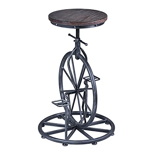 Retro Diseño Creativo Pedal Monociclo Forma Silla De Barra De Hierro Forjado Silla De Barra Elevable Adecuada para Bar Hogar Comercial,Hard Side