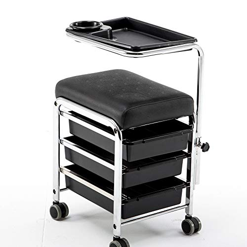 BarberPub Pedicure Unit Nail Stool Seat with Wheels Nail Station Beauty Spa Salon Trolley Cart 9311