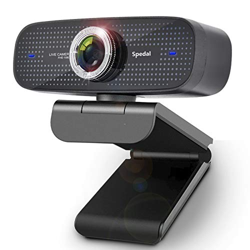 Cámara Web con Micrófono, Spedal HD 1080P Webcam Streaming para OBS/Zoom/Youtube/Skype, 100 Grados de Gran Angular para Computadora PC Cámara Mac Compatible con Windows