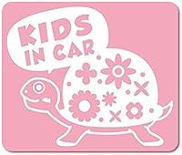 imoninn KIDS in car ステッカー 【マグネットタイプ】 No.53 カメさん (ピンク色)