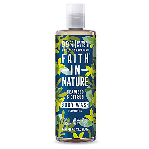 Faith in Nature Gel de Baño Natural de Algas Marinas y Cítricos, Detoxificante, Vegano y No Testado en Animales, sin Parabenos ni SLS, 400 ml