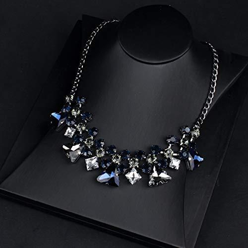 Shukun ketting ketting sleutelbeen ketting vrouwelijke accessoires mode wild sfeer jurk accessoires blauw kristal korte paragraaf (2 st)