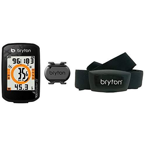 Bryton Rider 15C Con Sensore Di Cadenza, Nero, Taglia Unica & Ht03, Computer Gps Unisex, Adulto, Nero, M