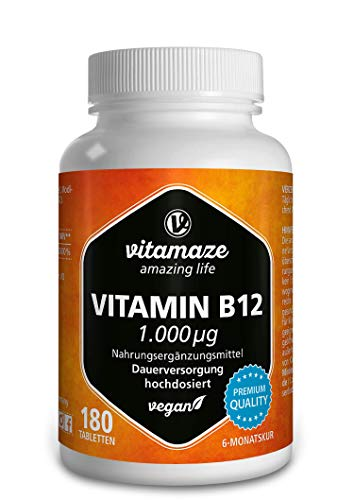 Vitamaze® Vitamine B12 1000 mcg avec Méthylcobalamine à Fort Dosage, 180 Comprimés Vegan 12 Mois d'approvisionnement, Utilisation Sublinguale Possible, Qualité Allemande, sans Additifs Inutiles