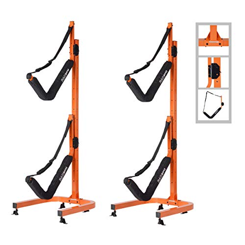 RAD Sportz Double Kayak Storage Rack- Self Standing Dual Canoe Kayak Cradle...