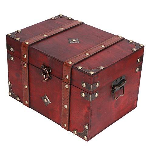 Alvinlite Caja de Madera para Cofre del Tesoro, Caja de Almacenamiento de joyería Vintage, Caja de exhibición de decoración para Almacenamiento de Joyas, Accesorios de fotografía