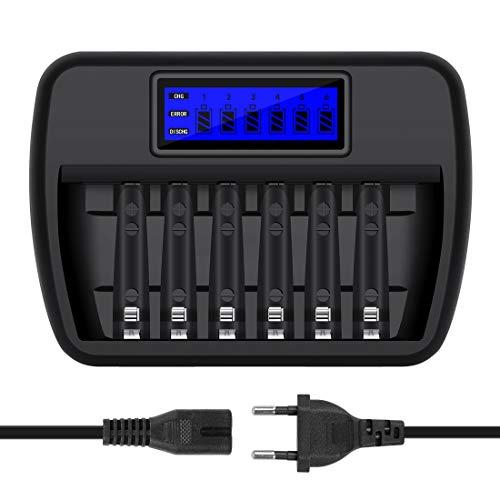 Snado LCD Akku Ladegerät 6 Slot Ladeschächten Universal Batterieladegerät für Akkus AA/AAA NI-MH NI-CD mit AC-Ladekabel