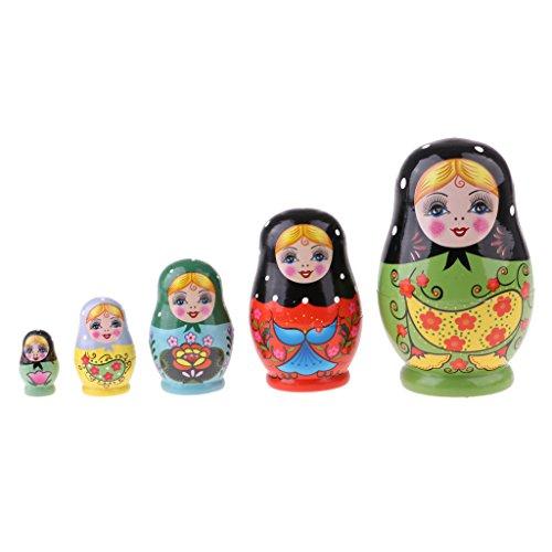 D DOLITY Handgemachte DIY Hölzerne Russische Matroschka, Matruschka, Matrjoschka Puppen Set - Mädchen, 5 pcs