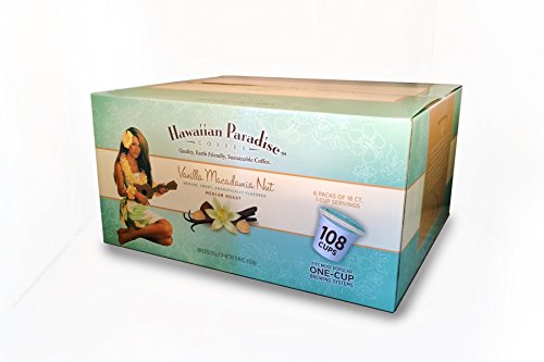 Hawaiian Paradise Coffee K Cups Vanilla Macadamia Nut {108 Cups} Sweet Medium Roast with An Amazing Aroma | Made From The Finest Beans, Farm Fresh Coffee | Keurig Friendly | Bulk K Cups Perfect For Home Or Office