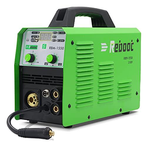 Reboot Soldadora MIG 150A IGBT 230V 1KG gas y sin gas MIG/ARC/Lift TIG/Spool gun 5 en 1 núcleo de flujo sólido alambre máquina de soldadura inverter stick MMA MIG MAG