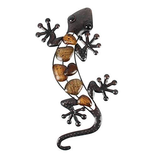 Garneck Eidechse Wanddekoration Metall Indoor Outdoor Gecko Hängen Inspirierende Skulptur Hängen für Bauernhaus Schlafzimmer Garten Terrasse Zaun (Braun)