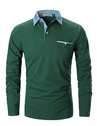 GHYUGR Polo para Hombre Mangas Largas Denim Costura Camisas Algodón Slim Fit Camiseta Golf Poloshirt T-Shirt Oficina Botón Cuello (XL, Verde)