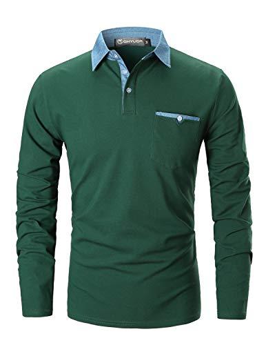 GHYUGR Polo para Hombre Mangas Largas Denim Costura Camisas Algodón Slim Fit Camiseta Golf Poloshirt T-Shirt Oficina Botón Cuello (M, Verde)