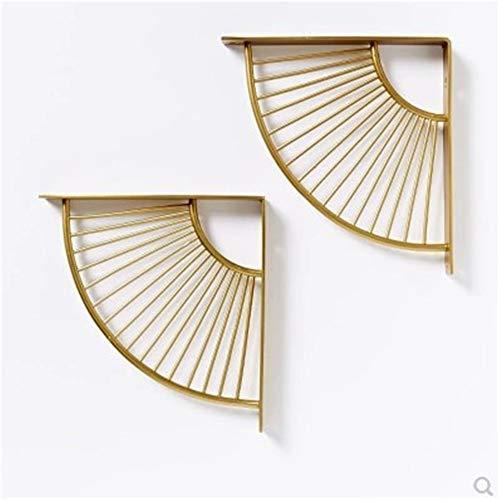 SUNEVEN Metall Handwerk Halterung Regal Rack Wandbehang Dekoration Sektor Halterung Moderne Eisen Kunst Stehen für Home Office Restaurant, etc. (Gold)